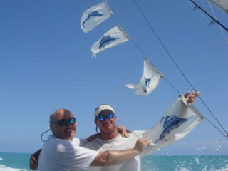 Sailfish release flags in Key West, FL aboard the Outer Limits